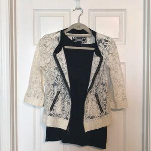 Daytrip lace zip up blouse